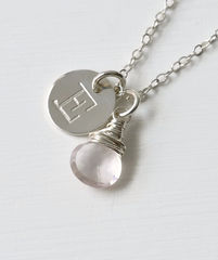 Sterling Silver October Birthstone Initial Necklace - product images 2 of 8