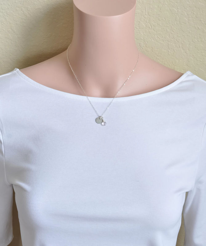 Sterling Silver October Birthstone Initial Necklace - product image