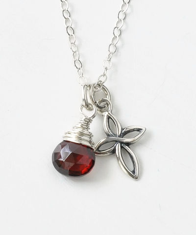 Small,Sterling,Silver,Cross,Necklace,with,Birthstone,for,January,sterling silver cross necklace with birthstone