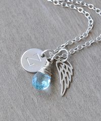 Personalized Baby Loss Necklace with March Birthstone and Initial Charm - product images 3 of 9