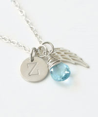 Personalized Baby Loss Necklace with March Birthstone and Initial Charm - product images 2 of 9