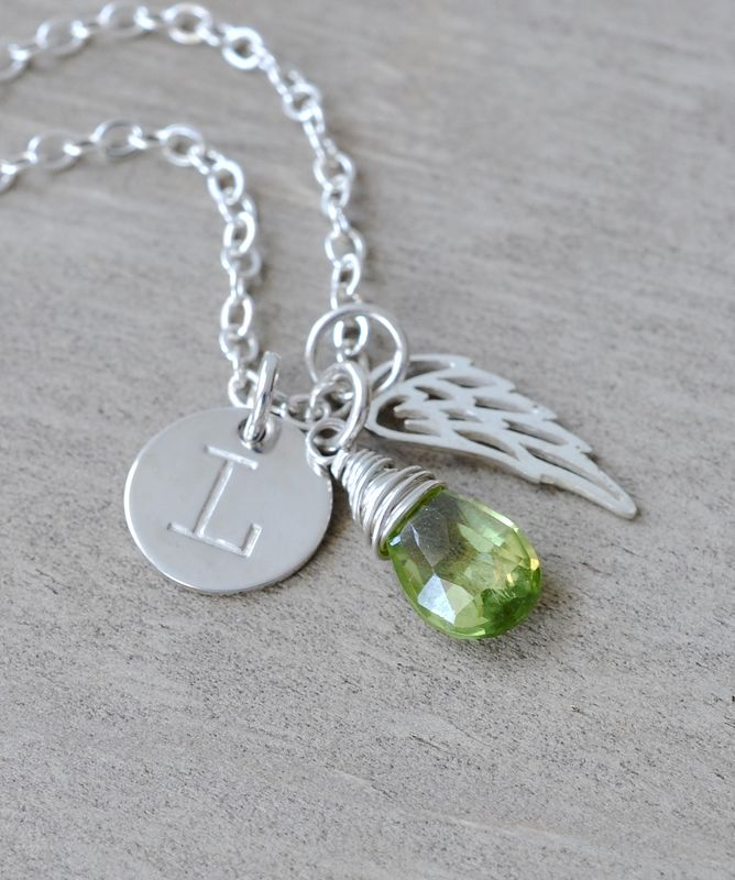 Personalized Infant Loss Necklace With August Birthstone