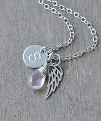 Personalized Baby Loss Necklace with October Birthstone and Initial - product images 3 of 9