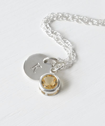 Sterling,Silver,Initial,Necklace,with,November,Birthstone,Citrine,sterling silver initial necklace with November birthstone