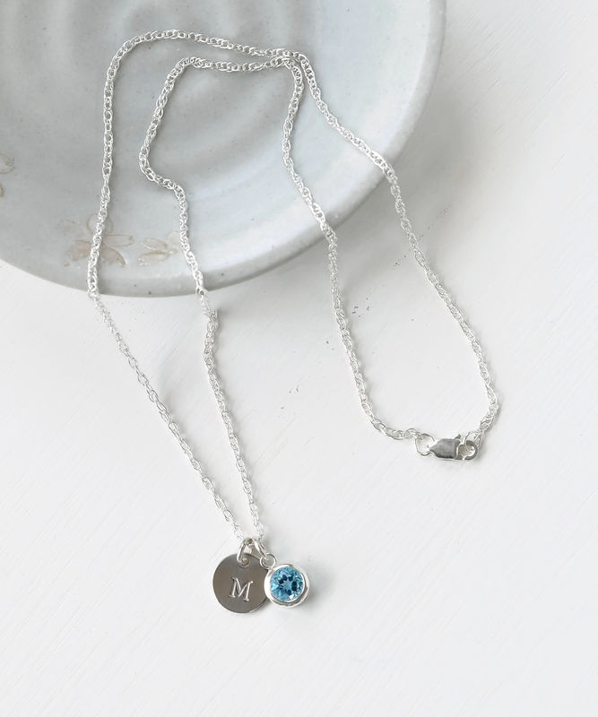 Sterling silver initial necklace with december birthstone blue topaz sterling silver initial necklace with december birthstone blue topaz product image aloadofball Images