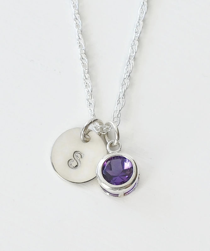 Sterling silver initial necklace with february birthstone amethyst sterling silver initial necklace with february birthstone amethyst product image aloadofball Image collections