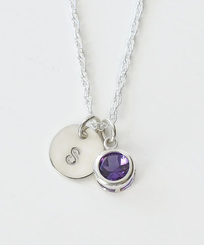 Sterling,Silver,Initial,Necklace,with,February,Birthstone,Amethyst,sterling silver initial necklace with february birthstone