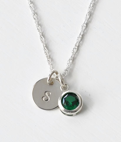 Sterling,Silver,Initial,Necklace,with,May,Birthstone,sterling silver initial necklace with may birthstone