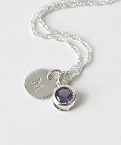 Sterling,Silver,Initial,Necklace,with,June,Birthstone,Imitation,Alexandrite,sterling silver initial necklace with june birthstone alexandrite