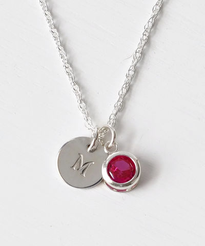 Sterling,Silver,Initial,Necklace,with,July,Birthstone,sterling silver initial necklace with july birthstone