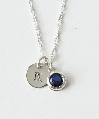Sterling,Silver,Initial,Necklace,with,September,Birthstone,sterling silver initial necklace with september birthstone