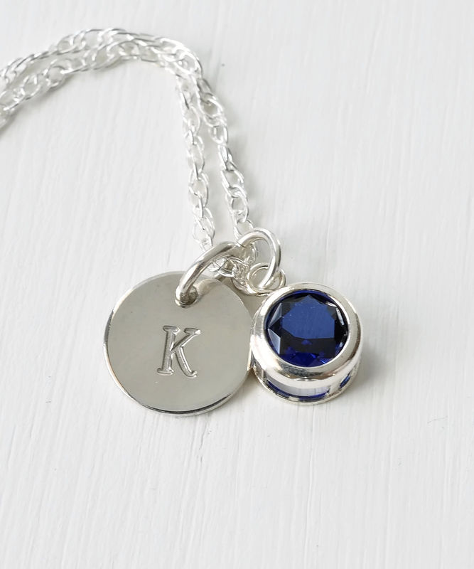 Sterling silver initial necklace with september birthstone blue sterling silver initial necklace with september birthstone product image aloadofball Image collections