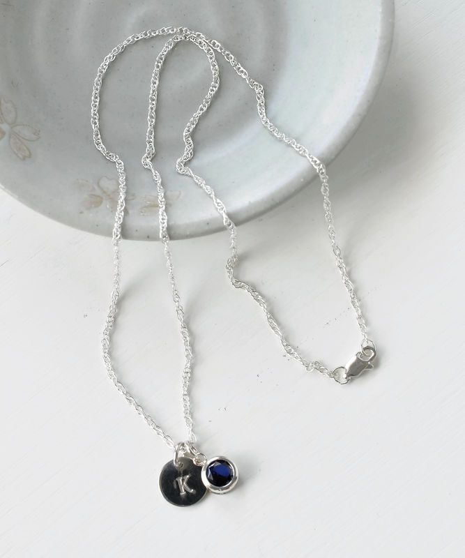 Sterling silver initial necklace with september birthstone blue sterling silver initial necklace with september birthstone product image aloadofball Gallery