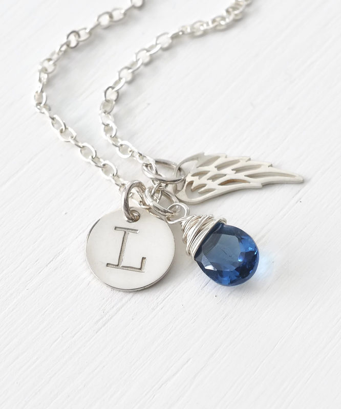 Personalized Baby Loss Necklace with September Birthstone and Initial - product image