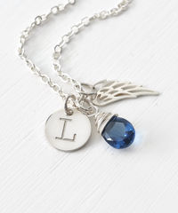 Personalized Baby Loss Necklace with September Birthstone and Initial - product images 4 of 9