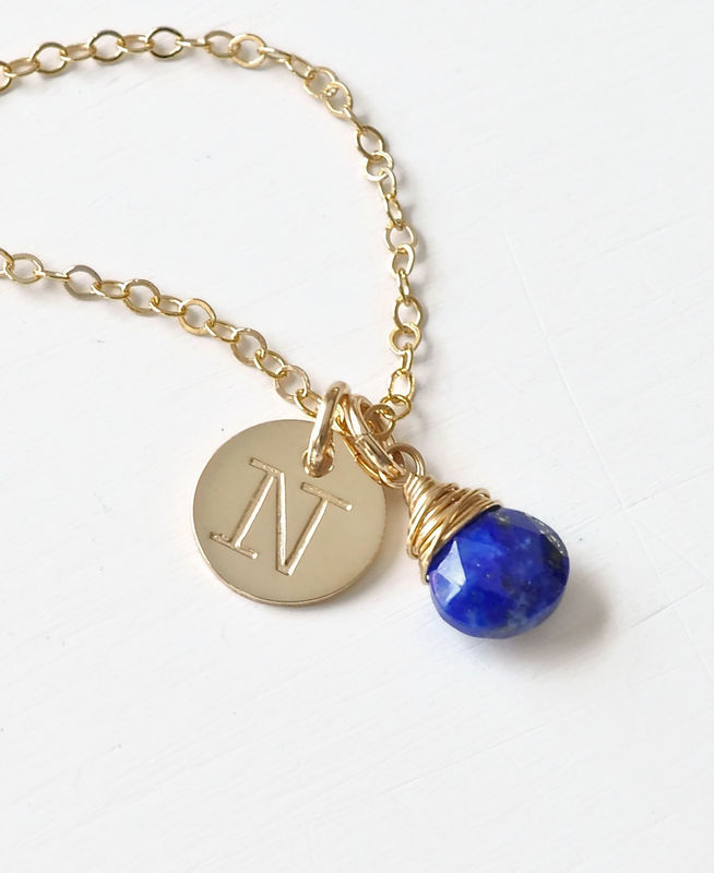 Gold initial necklace with september birthstone blue room gems gold initial necklace with september birthstone product image aloadofball