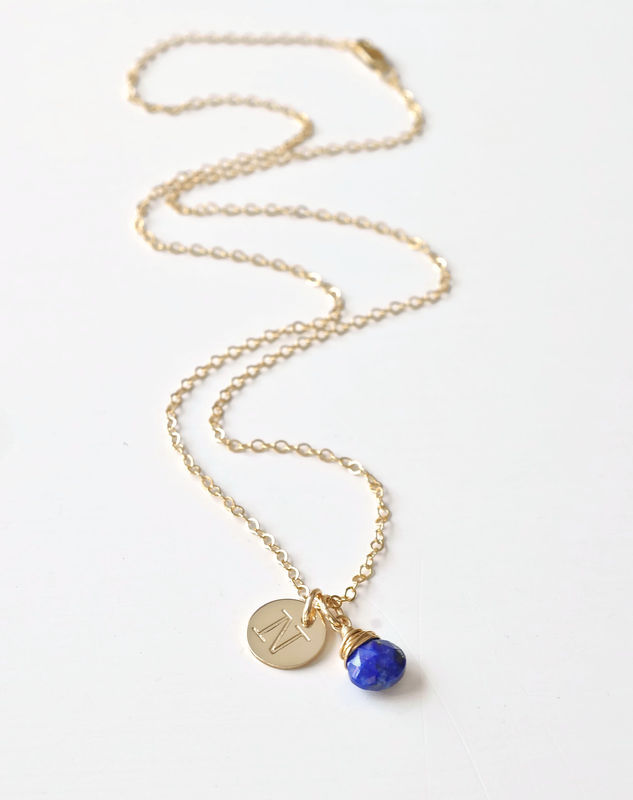 Gold initial necklace with september birthstone blue room gems gold initial necklace with september birthstone product image aloadofball Image collections