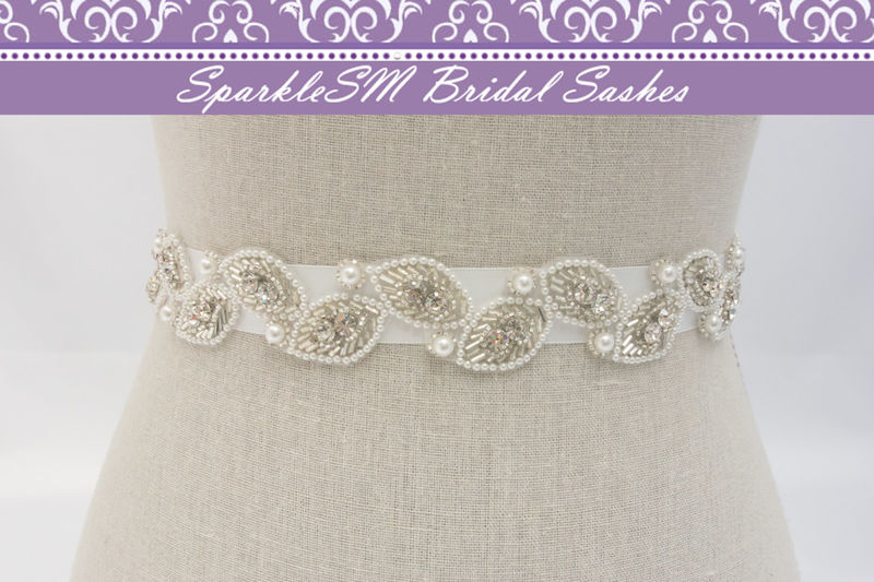 Bridal Sash, Bridal Belt, Rhinestone Bridal Sash, Bridal Dress Sash ...