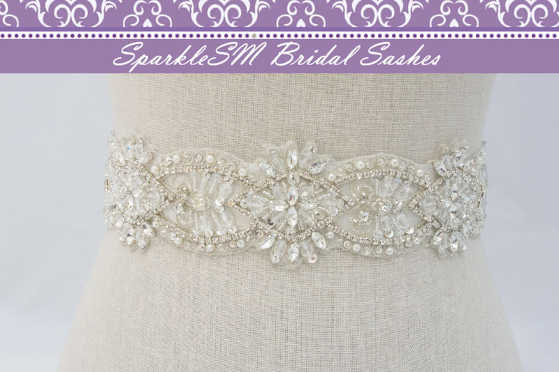 Crystal Bridal Sash, Beaded Bridal Dress Sash, Rhinestone Sash ...