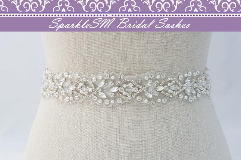 Rhinestone Bridal Sash, Ivory Bridal Sash, Bridal Belt, Bridal Sash ...