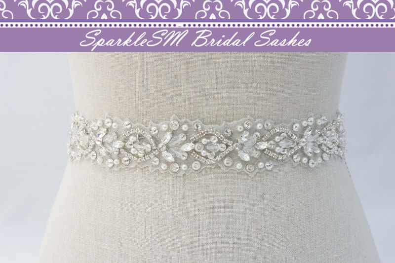 Rhinestone Bridal Sash, Ivory Bridal Sash, Bridal Belt, Bridal Sash, Beaded Bridal Belt, Wedding Dress Sash, Crystal Sash, SparkleSM, Sylvie - product image