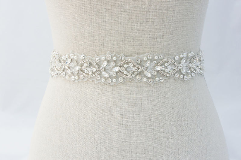 Rhinestone bridal sash ivory bridal sash bridal belt for Sparkly belt for wedding dress