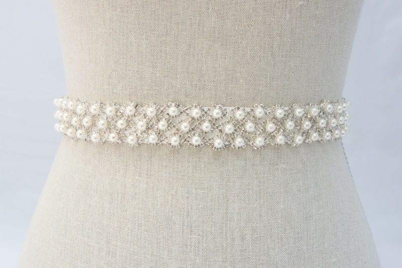 Pearl Bridal Sash, Bridal Belt, Rhinestone Sash, Bridal Sash, Wedding Dress Sash, Pearl Bridal Belt, Crystal Dress Sash, SparkleSM, Edith - product image