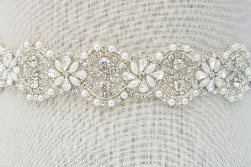 Crystal Bridal Belt, Rhinestone Bridal Sash, Beaded Bridal Belt, Bridal Dress Sash, Wedding Dress Sash, Bridal Sash, SparkleSM Bridal, Gemma - product image