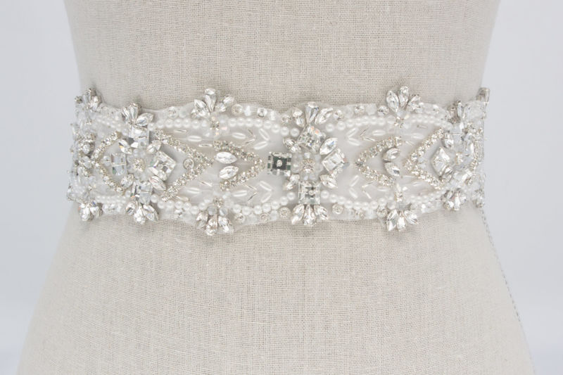 bridal sash beaded bridal belt rhinestone sash