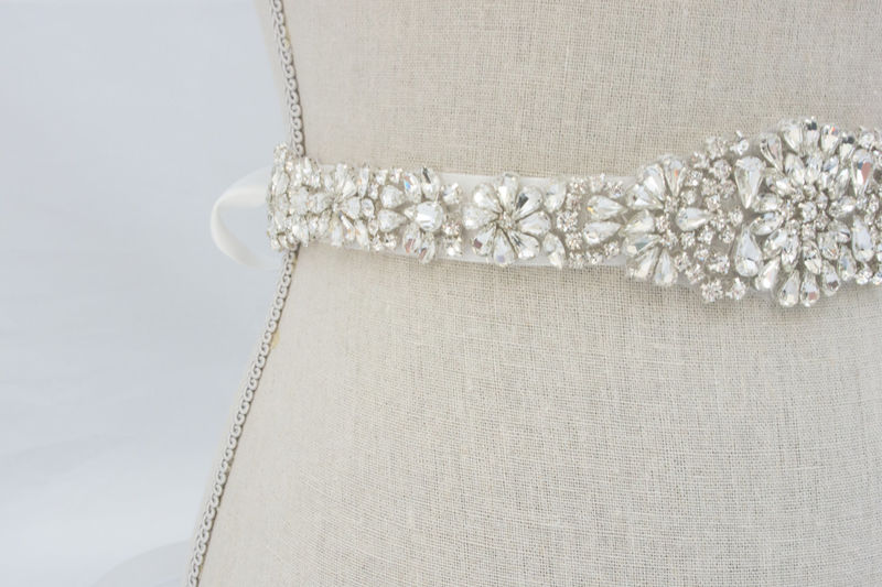 Rhinestone bridal sash beaded bridal belt rhinestone for How to ship a wedding dress usps