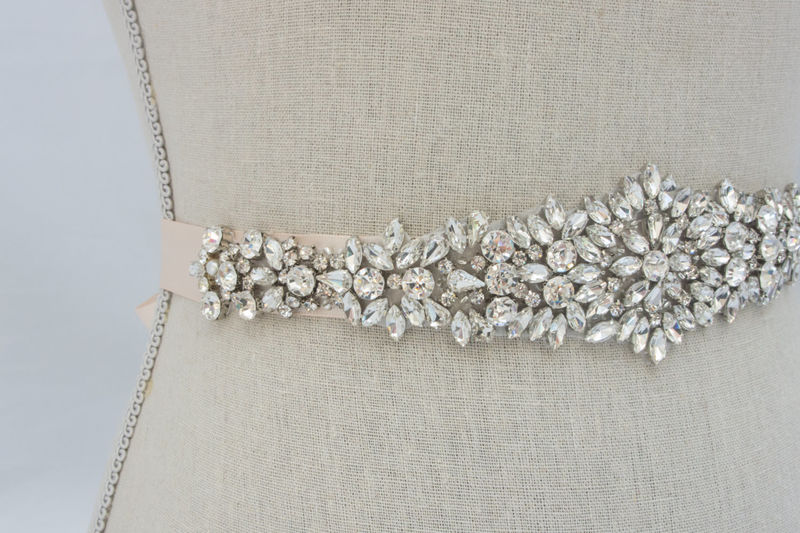 Rhinestone applique crystal wedding applique bridal sash for Wedding dress belt sash
