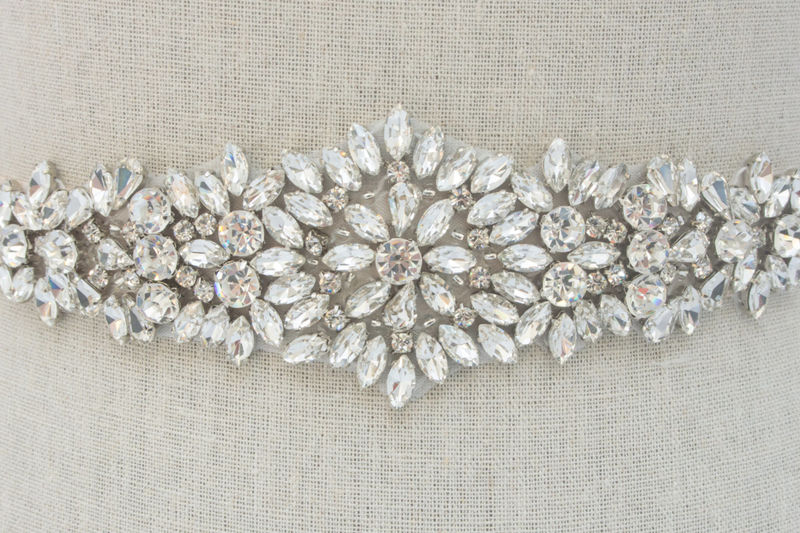 Rhinestone Applique Crystal Wedding Applique Bridal Sash Bridal