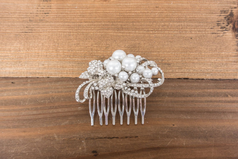 Rhinestone Pearl Comb, Rhinestone Comb, Bridal Comb, Wedding Comb, Wedding Clip, Bridal Head Piece, Crystal Bridal Comb, SparkleSM Bridal - product image