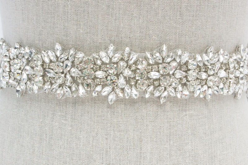 Rhinestone Bridal Sash, Rhinestone and Crystal Wedding Belt, Rhinestone Pearls Satin Sash, Jeweled Beaded Sash, Bridal Accessories - Ava - product image