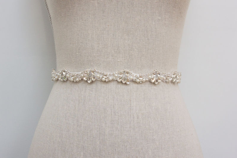 Pearl Crystal Rhinestone Sash, Beaded Wedding Belt, Bridal Dress ...
