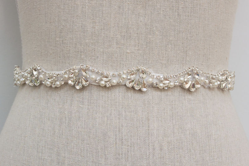 Pearl Crystal Rhinestone Sash, Beaded Wedding Belt, Bridal Dress Sash, Rhinestone Sash, Bridal Belt, SparkleSM Bridal Sashes, Catherine - product image