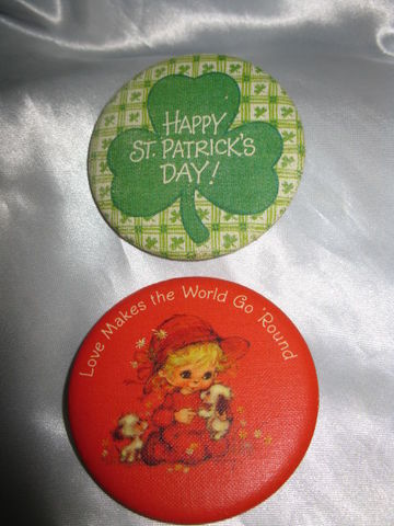 Two,Vintage,Hallmark,Pin,Back,Buttons,Love,&,St.,Patricks,Day,vintage pinback, vintage hallmark, pin, button, st patricks day, fancypantsandmore, ourblueridgehome