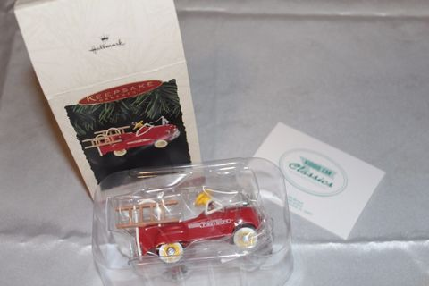 Vintage,1995,Hallmark,Keepsake,Christmas,Ornament,1955,Murray,Kiddie,Car,Fire,Truck,vintage ornament, vintage hallmark, murray kiddie car, 1955, 1990s, fire truck, fancypantsandmore, ourblueridgehome