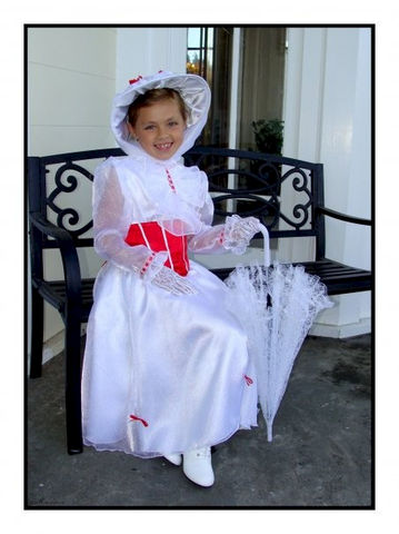 Custom,Boutique,MARY,POPPINS,Jolly,Holiday,Girl's,Costume,Dress,Set,Clothing, Costume, Children, dress, handmade, halloween, mary poppins, custom dress, girl costume, jolly holiday, christmas, dress up, halloween costume, magical attic, white dress, magicalattic
