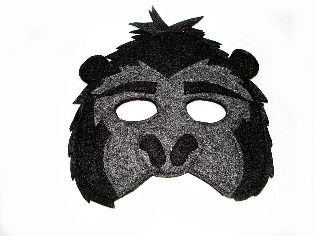 Children's Jungle Animal GORILLA Felt Mask - Magical Attic