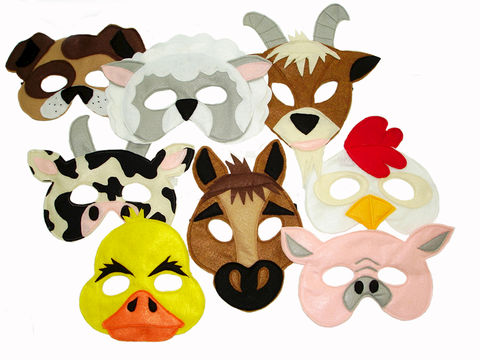 Children's,Barnyard,Farm,Animals,Felt,Super,Combo,of,8,Masks,Children, Clothing, Costume, pretend play, halloween costume, kids mask, photo prop, barnyard animal, barnyard masks, farm themed party, farm animal masks, cow, pig, horse, duck, chicken mask, magicalattic,