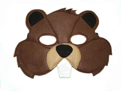 Children's,Woodland,Animal,BEAVER,Felt,Mask,Children, Clothing, Costume, dress up, pretend play, halloween costume, christmas gift, party favor, felt mask, kids mask, animal mask, birthday gift, toy, fox mask, beaver mask, magicalattic