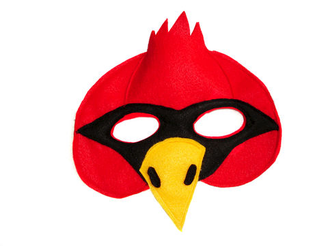 Children's,CARDINAL,Bird,Felt,Mask,Children, Clothing, Costume, dress up, pretend play, halloween costume, felt mask, kids mask, woodland animal mask, birthday theme, boys mask, toy mask, bird mask, angry bird, red bird, magicalattic,