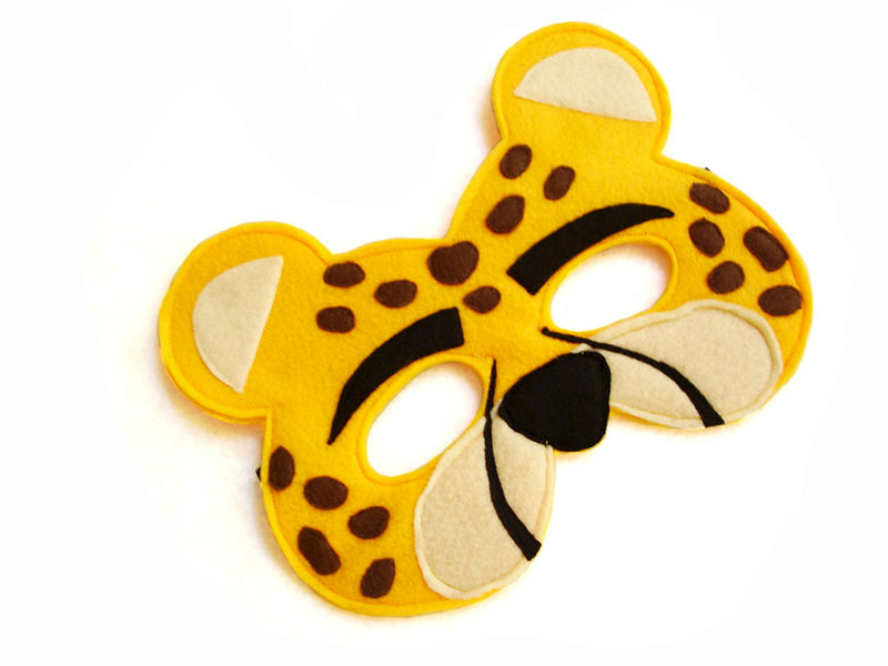 Children's Safari Animal CHEETAH Felt Mask - product images  of