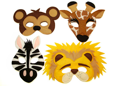 Children's,Safari,Animals,Felt,Mini,Combo,of,4,Masks,Children, Clothing, Costume, pretend play, halloween costume, kids mask, eco felt, safari party, jungle animals, lion, giraffe, zebra, monkey, photo prop, christmas gift, zoo animals, magicalattic