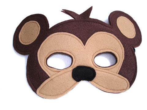 Children's,Safari,Animal,MONKEY,Felt,Mask,Children, Clothing, Costume, dress up, pretend play, halloween costume, christmas gift, party favor, felt mask, kids mask, animal mask, jungle animal mask, magical attic, toy, woodland animals, magicalattic, zoo animal mask, safari animal mask