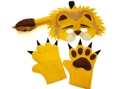 Children's,Safari,Animal,LIONS,Felt,Mask,Tail,and,Paws,Costume,Set,Children, Clothing, Costume, halloween costume, christmas gift, felt mask, kids mask, animal mask, safari birthday, jungle animal mask, lion tail, lion kids mask, lion king, lions paws, lion mask, magicalattic, zoo animal mask