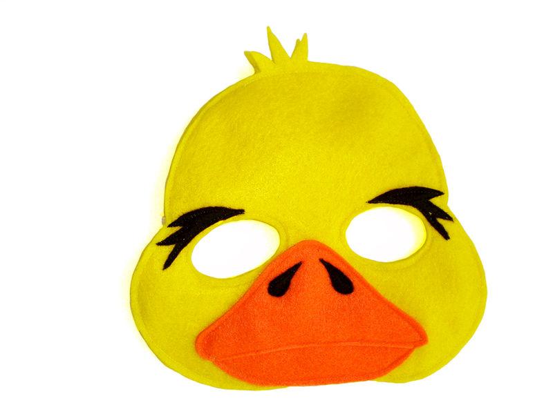 Children's Farm Barnyard Animal Yellow DUCK Felt Mask