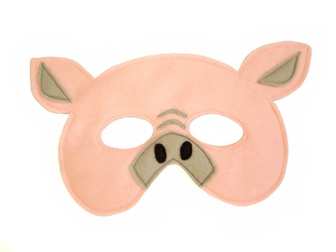 Children's,Farm,Barnyard,Animal,PIG,Felt,Mask,Children, Clothing, Costume, dress up, pretend play, halloween costume, party favor, felt mask, kids mask, woodland animal mask, boys mask, three little pigs, farm animals, bad wolf, toy, magicalattic