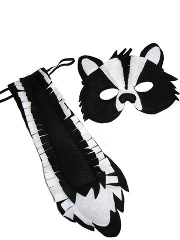 Children's,Woodland,Animal,SKUNK,Felt,Mask,and,Tail,Set,Children, Clothing, Costume, dress up, pretend play, halloween costume, christmas gift, party favor, felt mask, kids mask, animal mask, woodland costume, woodland party theme, eco felt, kids skunk mask, magicalattic